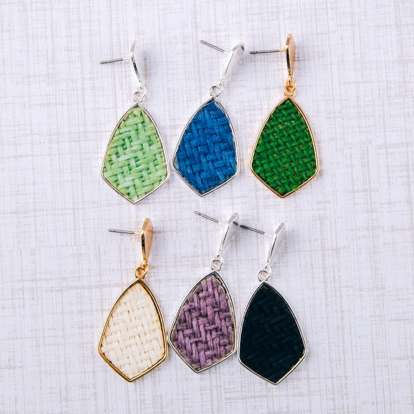 "Raffia rattan woven drop earrings. Approximately 1.5"" in length."