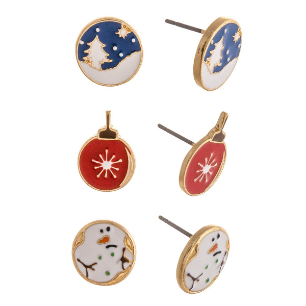 "Christmas stud earring set featuring three pairs with ornament, snowman and snow enamel details. Approximately .5"" in diameter."