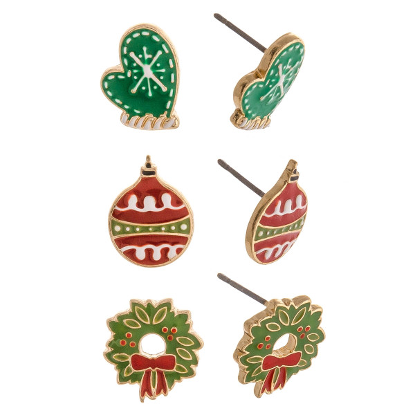 Christmas stud earrings featuring three paid with ornament, wreath and mitten enamel details. Approximately 1cm in size.