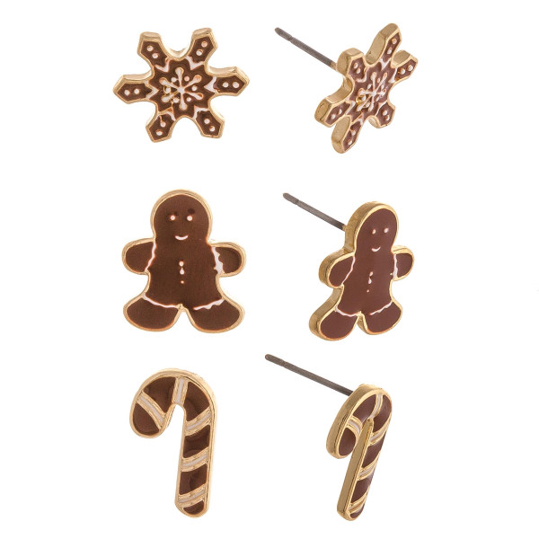 """Enamel Coated Christmas Gingerbread Stud Earring Set.  - 3 Pair Per Set - Approximately .5"""" in size"""