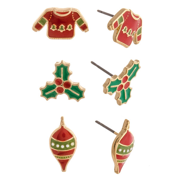 "Christmas stud earring set featuring three pairs with mistletoe, sweater and ornament enamel details. Approximately .5"" in size."
