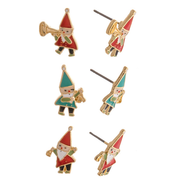 "Christmas stud earring set featuring three pairs with gnome enamel details. Approximately .5"" in size."