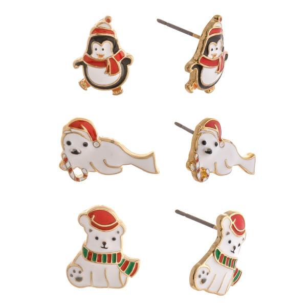 """Christmas stud earring set featuring three pairs with penguin, seal and polar bear enamel details. Approximately .5"""" in size."""