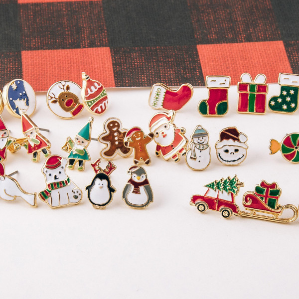 Enamel Coated Christmas Stud Earring Set.  - 3 Pair Per Set - Approximately 1cm in size