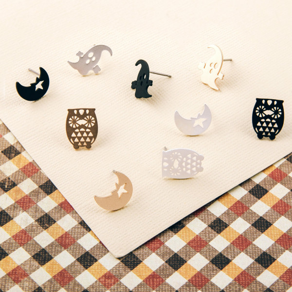 Halloween stud earring set featuring three pairs with owl, half moon and ghost details. Approximately 1cm in size.