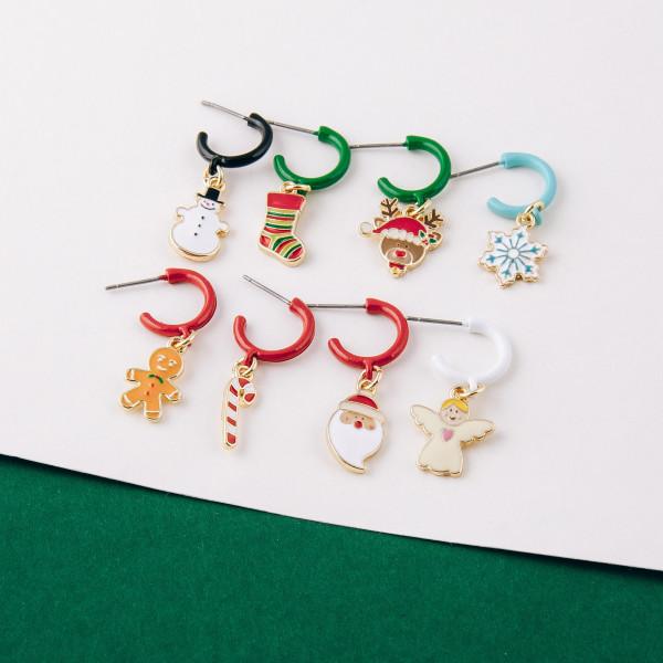 """Enamel coated Christmas Angel huggie open hoop earrings.   - Approximately 1"""" in length"""