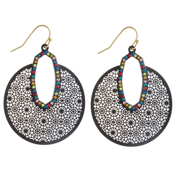"Filigree disc earrings featuring multicolor cubic zirconia accents. Approximately 2"" in length. Approximately 1.5"" in diameter."