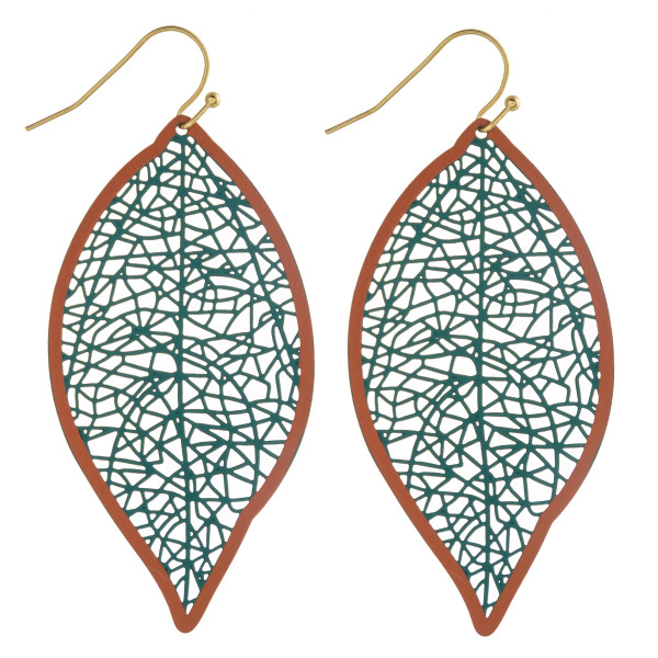 "Long filigree leaf inspired earrings. Approximately 2.5"" in length."