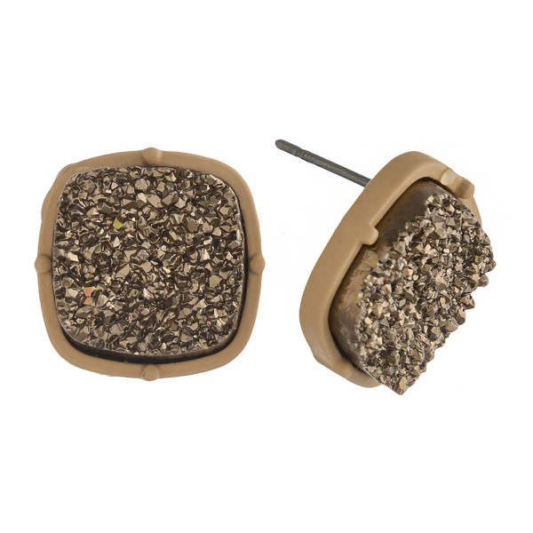 "Druzy stud earrings. Approximately .5"" in diameter."