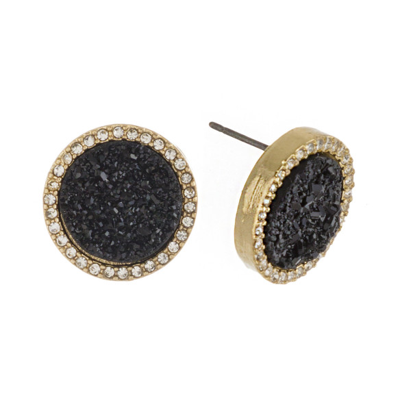 "Druzy disc stud earrings with cubic zirconia accents. Approximately .5"" in diameter."