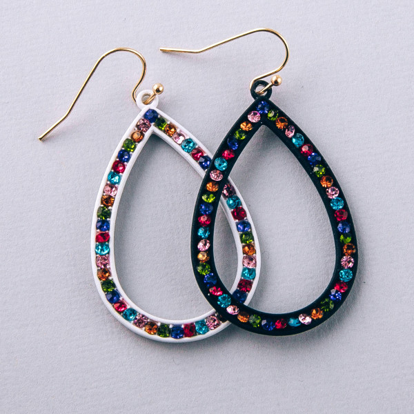"Teardrop earrings with multicolor rhinestone details. Approximately 2"" in length."