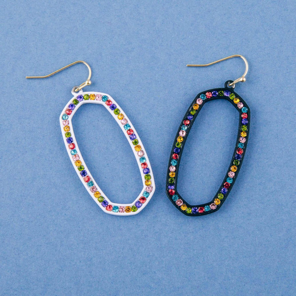 "Multicolor crystal oblong earrings. Approximately 2"" in length."