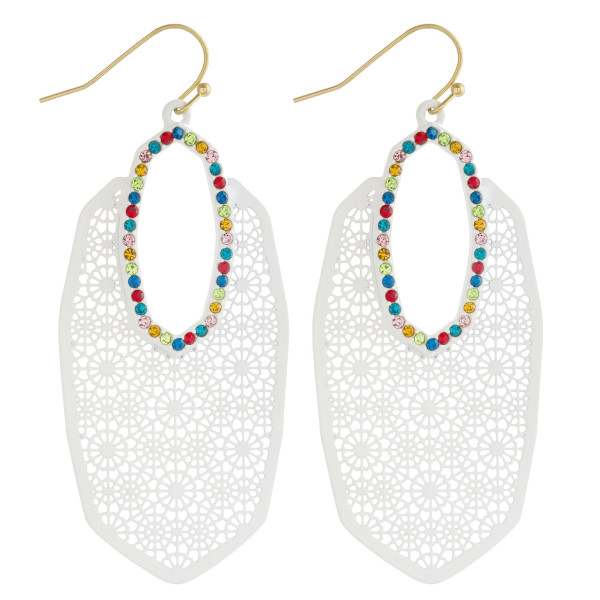 "Oblong filigree earrings featuring multicolor cubic zirconia accents. Approximately 2.5"" in length."
