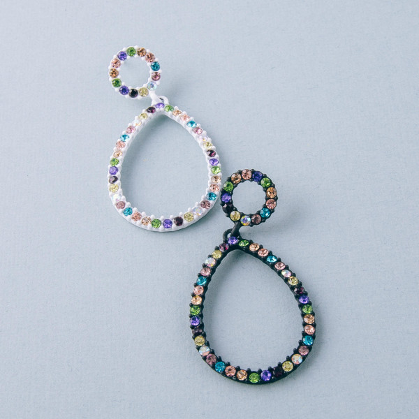 "Teardrop earrings featuring multicolor rhinestone accents. Approximately 2"" in length."
