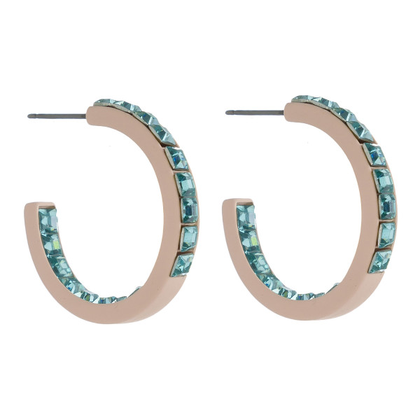 Wholesale hoop earrings double side light blue rhinestone block details diameter