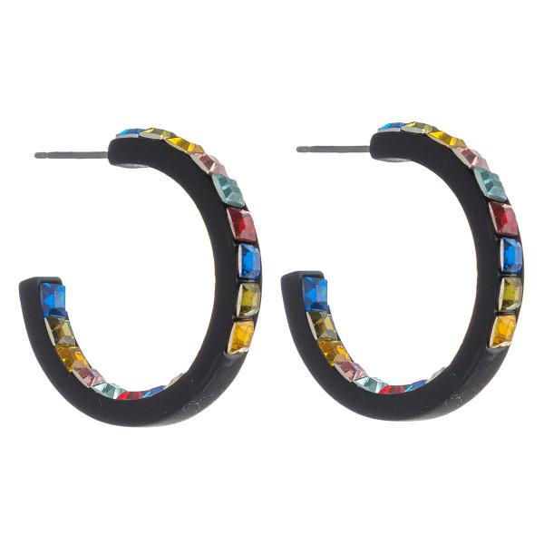 Wholesale hoop earrings double side multicolor rhinestone block details diameter