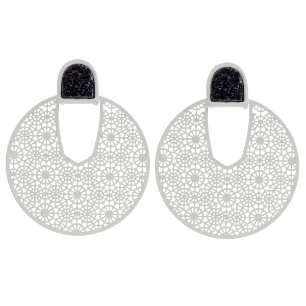 "Filigree disc earrings featuring a druzy stud accent. Approximately 1.5"" in diameter."
