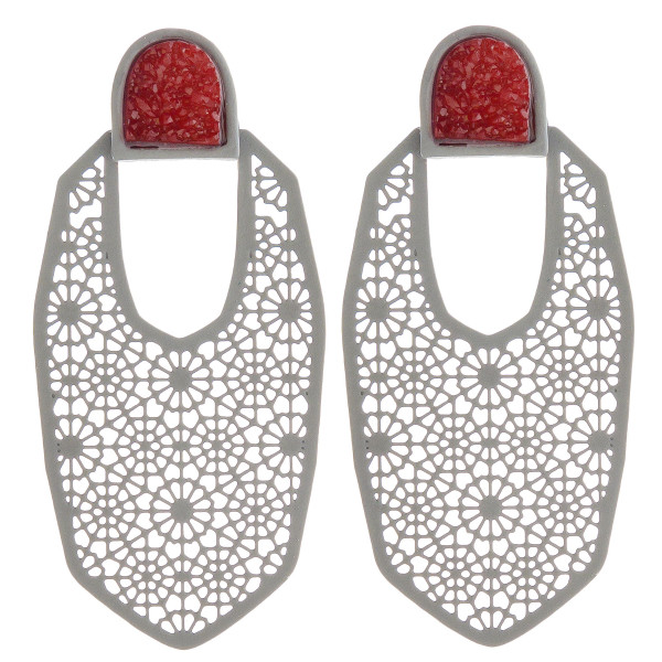 "Filigree oblong earrings featuring a druzy stud accent. Approximately 2"" in length."