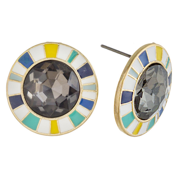 "Crystal stud earrings with multicolor enamel details. Approximately .75"" in diameter."