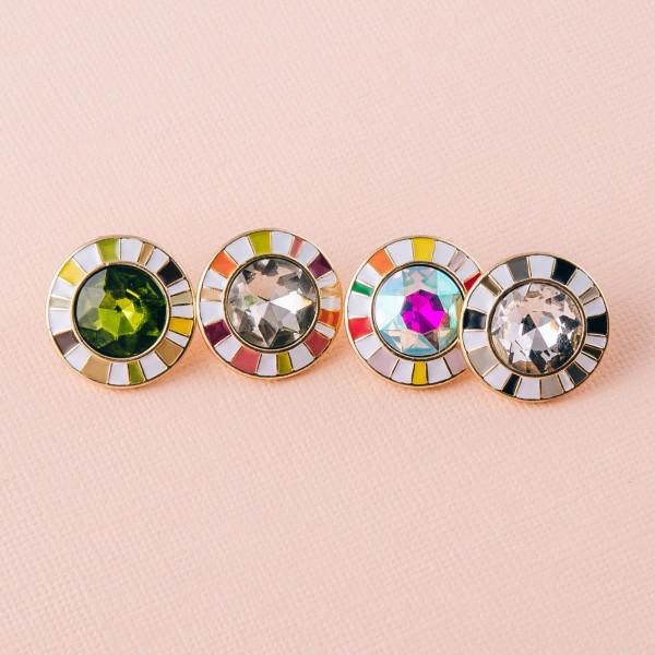 "Crystal stud earrings with multicolor enamel details. Approximately .75"" in diameter."