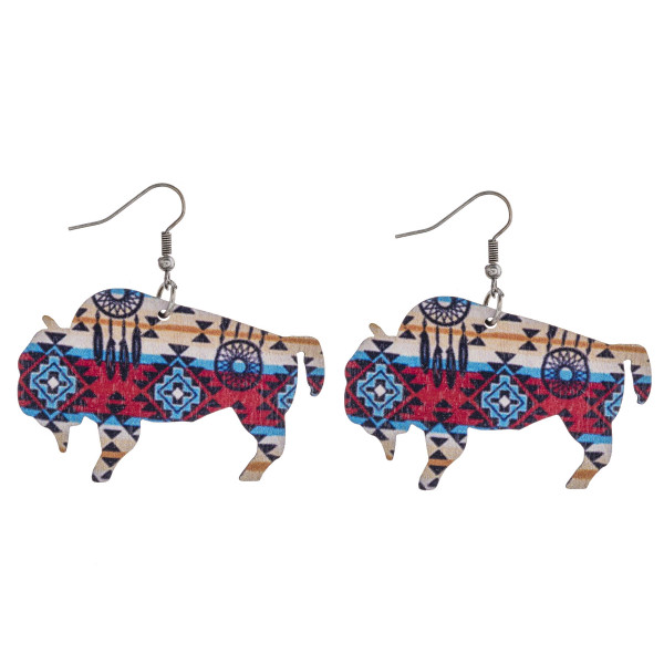 "Tribal print buffalo laser cut wood earrings. Approximately 1.5"" in length."