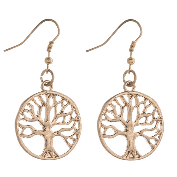 """Metal tree of life dangle earrings.   - Approximately 1.5"""" in length"""