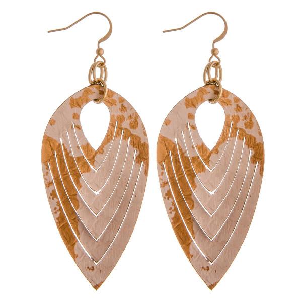 Wholesale genuine leather metallic dangle earrings