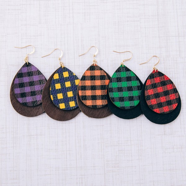 """Double layered plaid print faux leather teardrop earrings. Approximately 2.5"""" in length."""