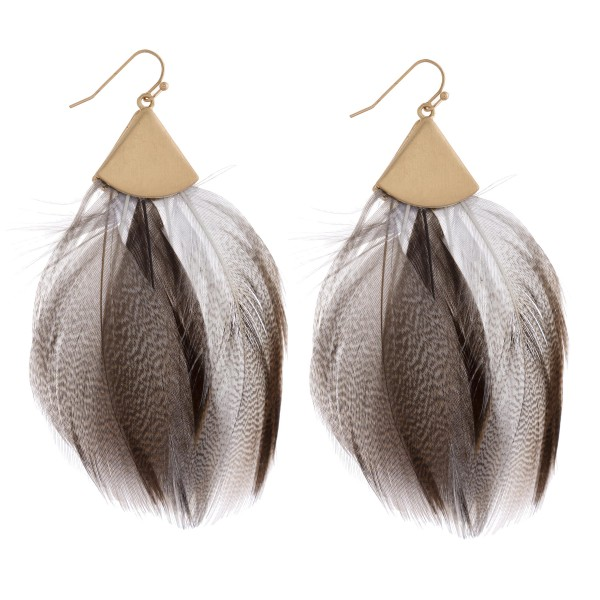 "Boho feather earrings. Approximately 3.5"" in length."