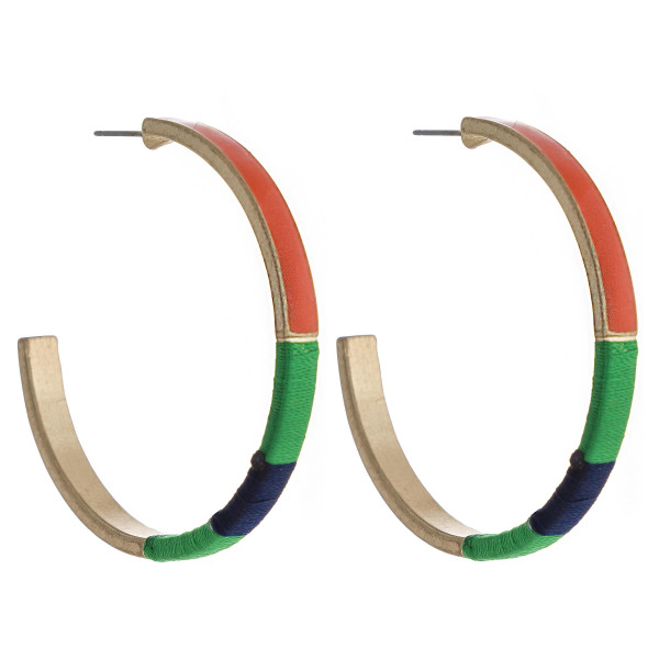 Wholesale enamel thread wrapped hoop earrings diameter