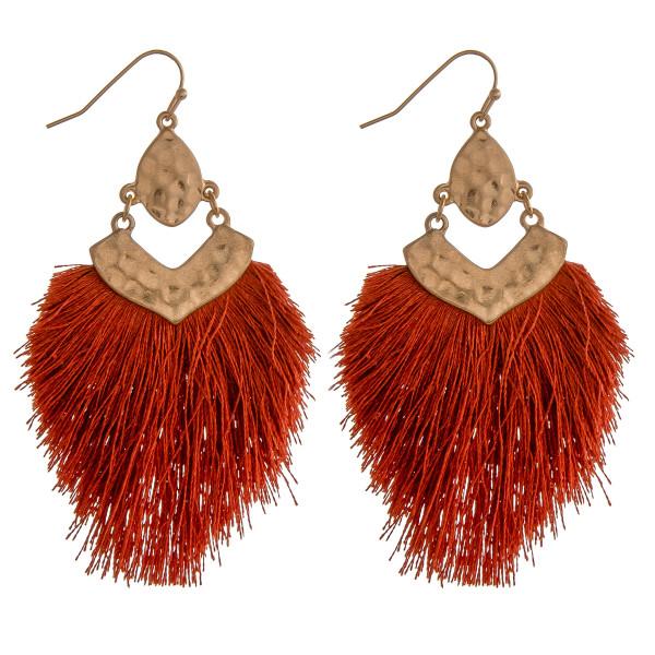 """Hammered fringe tassel hinge earrings.  - Approximately 3"""" in length"""