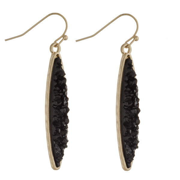 """Skinny pointed oval druzy dangle earrings. Approximately 1.75"""" in length."""