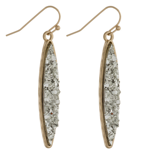 "Skinny pointed oval druzy dangle earrings. Approximately 1.75"" in length."
