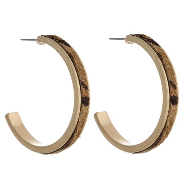 Wholesale fur faux leather leopard print metal encased open hoop earrings diamet