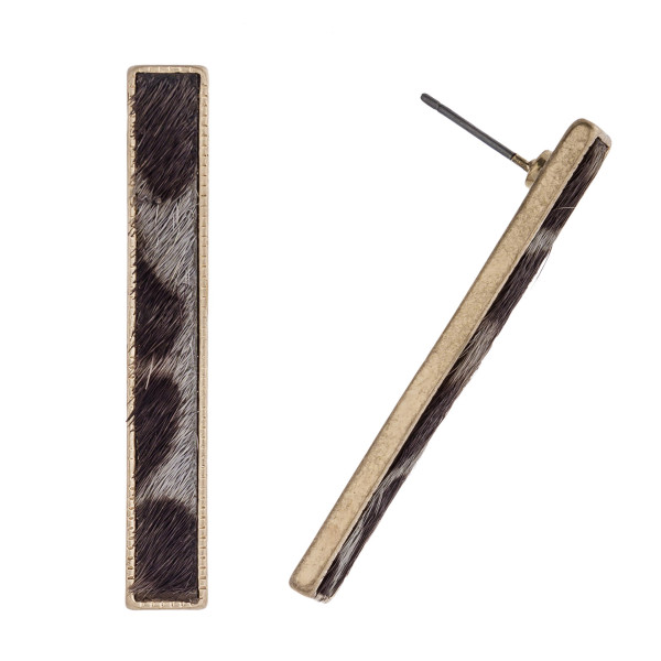 Wholesale metal Encased Genuine Leather Leopard Print Bar Drop Earrings Gold Lon