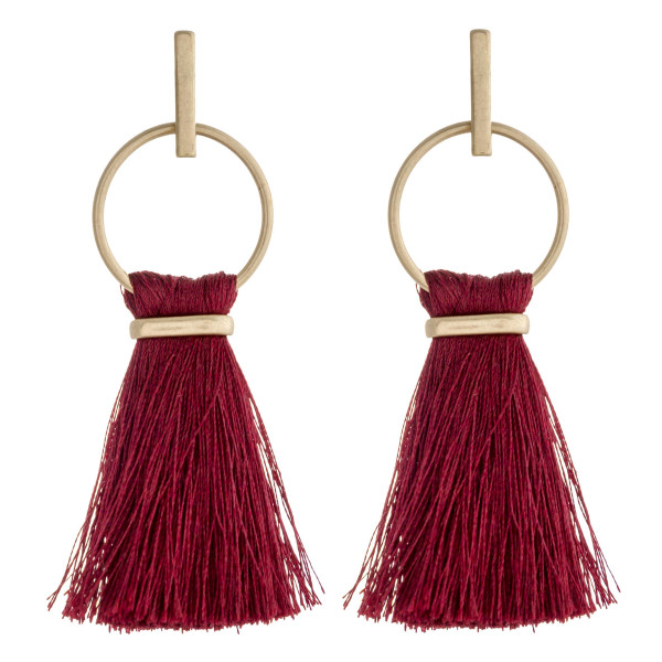 "Fringe fan tassel bar stud drop earrings.  - Approximately 3"" L"