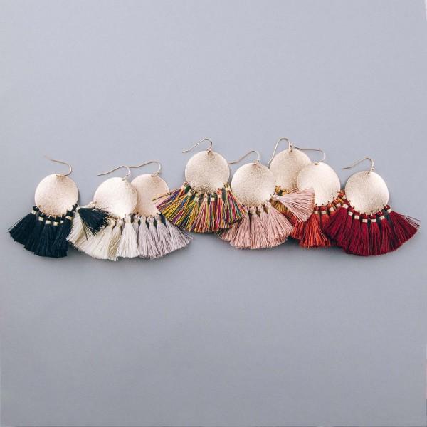"""Fan tassel metallic disc dangle earrings. Approximately 2.25"""" in length."""