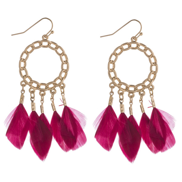 Wholesale chain link boho feather chandelier earrings