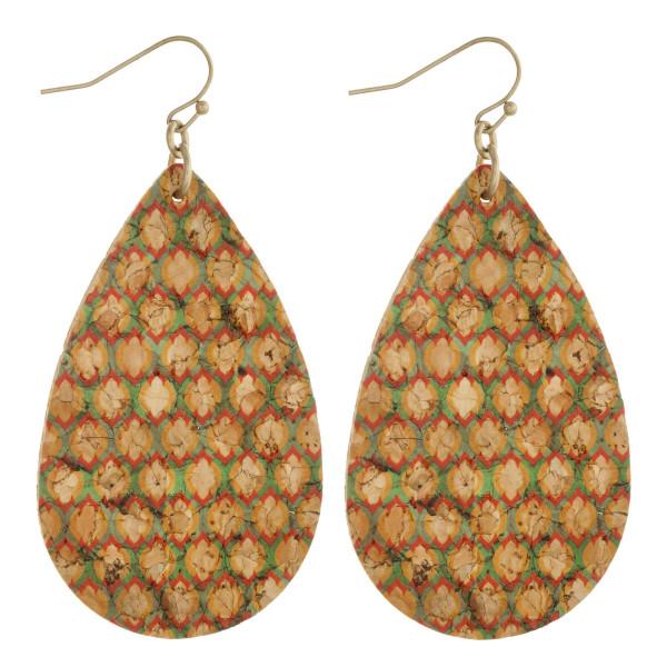 """Geometric cork teardrop earrings. Approximately 2.5"""" in length."""
