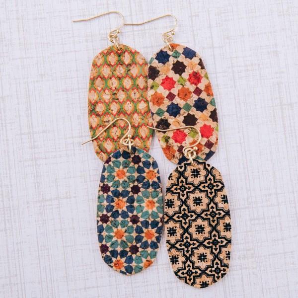 """Geometric cork drop earrings. Approximately 2.5"""" in length."""
