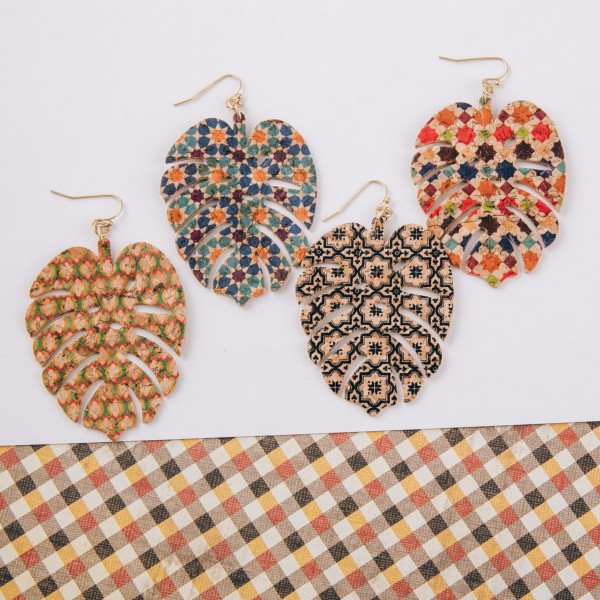 "Geometric cork leaf dangle earrings. Approximately 2.5"" in length."