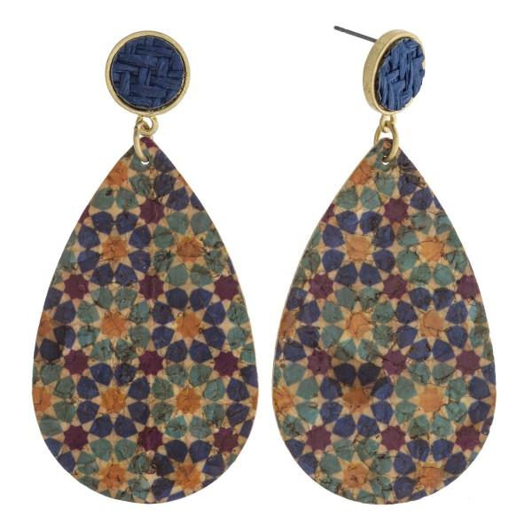 """Geometric print cork teardrop earrings featuring a raffia woven stud detail. Approximately 3"""" in length."""