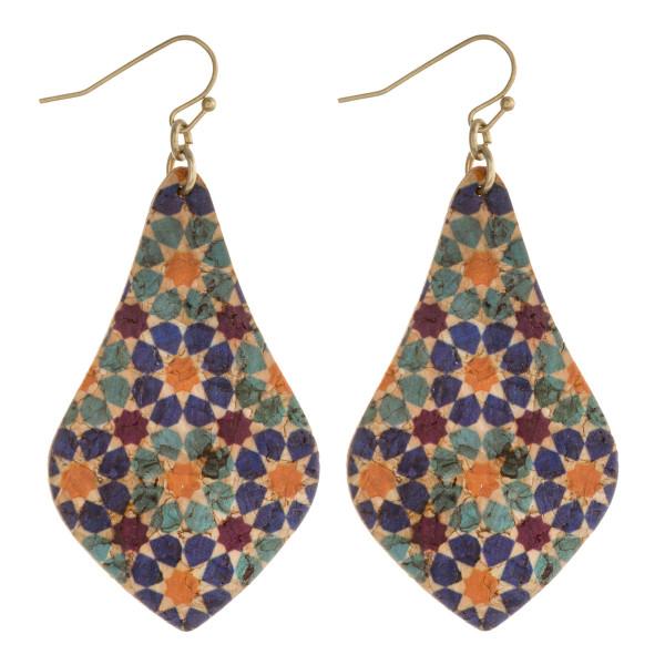 """Geometric cork pointed teardrop earrings. Approximately 2.5"""" in length."""