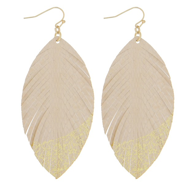 Wholesale thin faux leather gold metallic feather earrings