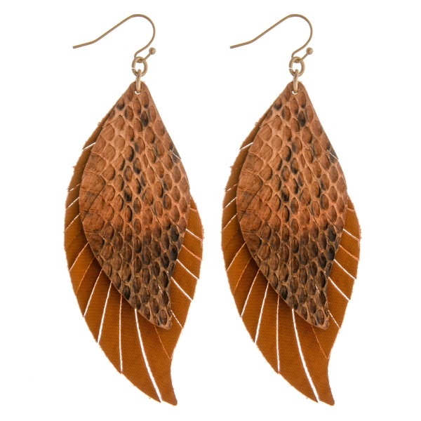 Wholesale layered faux leather snakeskin feather boho earrings