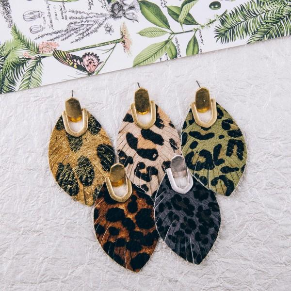 "Leopard print faux fur feather drop earrings. Approximately 2.5"" in length."