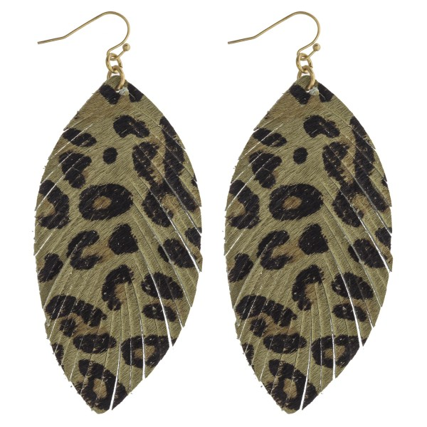 """Leopard print cowhide feather earrings.   - Approximately 3.5"""" in length"""