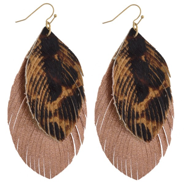 "Faux fur leopard print metallic double layered feather earrings. Approximately 3.5"" in length."