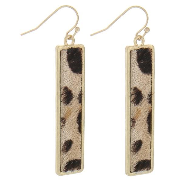 """Faux fur leopard print bar earrings.  - Approximately 2.5"""" in length"""