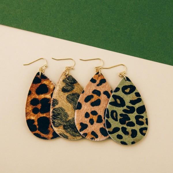 """Leopard print cowhide teardrop earrings.   - Approximately 2.5"""" in length"""